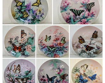 On Gossamer Wings Complete Series Collector Plates by Artist Lena Liu + Display Shelf Sponsored by the Xerces Society with Bradford Exchange