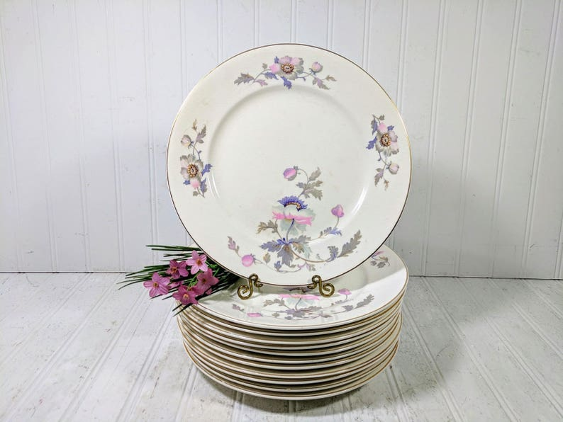 Dinner Plates Set Of 12 National Ivory China Dinnerware Pink Etsy