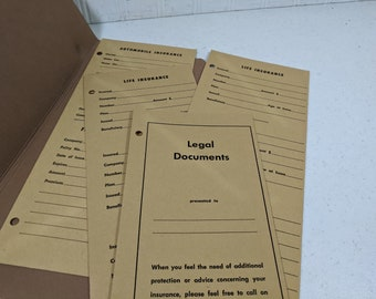 Insurance Papers Envelopes Holder Retro Office Equipment Folder Metropolitan Life Insurance Met Life Booklet Unused Legal Documents Policies