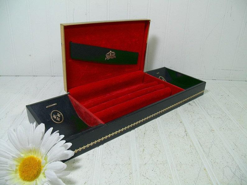 bf332ad565dd4 Jewelry Box Black Leatherette Gold Metal Trim Retro Mens