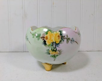 Porcelain Candy Bowl Hand Painted Yellow Roses on Three Gold Feet Antique Cottage Chic Display China Fluted Edge Flower Bowl Free Shipping