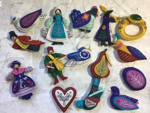 Twelve Days Of Christmas Ornaments.Twelve Days Of Christmas Ornament Set Of 13 Or 15 Ornaments