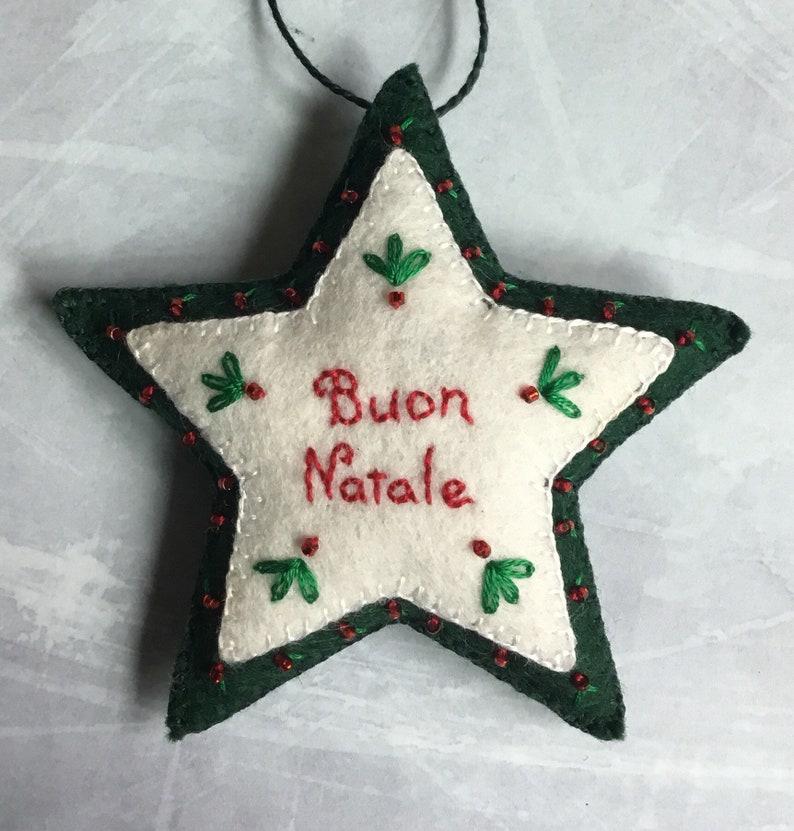 Buon Natale Ornament.Buon Natale Italian Christmas Embroidered Felt Star