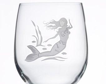 Mermaid Wine Glass, Etched (Sandblasted), Original Design