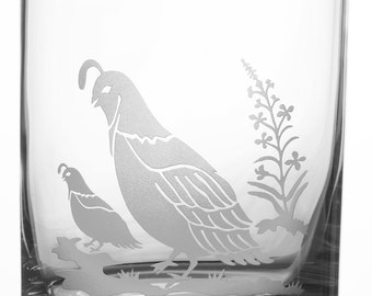 Quail, 12oz Rocks Glass, etched (Sandblasted), Original Design