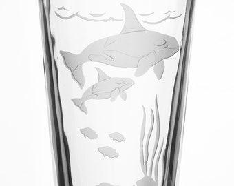 Orca, 16oz Glass, etched (Sandblasted), Original Design