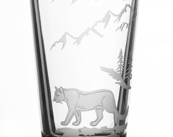 Mountain Lion, 16oz Glass, etched (Sandblasted), Original Design