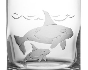 Orca, 12oz Rocks Glass, Etched (Sandblasted), Original Design