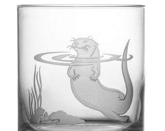 Otter 12oz Rocks Glass, etched (Sandblasted), Original Design