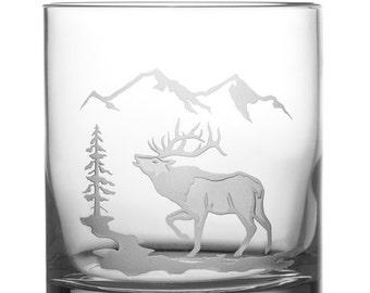 Elk, 12oz Rocks Glass, Etched (Sandblasted), Original Design