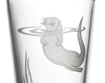 Otter, 16oz Glass, etched (Sandblasted), Original Design