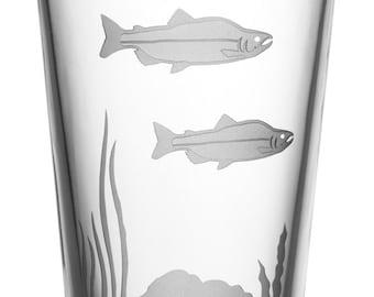 Salmon, 16oz Glass, etched (Sandblasted), Original Design