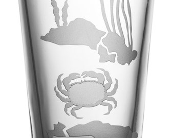 Crab, 16oz Glass, etched (Sandblasted), Original Design