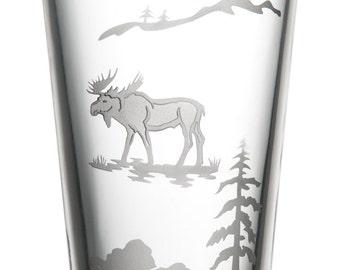 Moose, 16oz Glass, etched (Sandblasted), Original Design