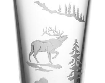Elk, 16oz Glass, etched (Sandblasted), Original Design