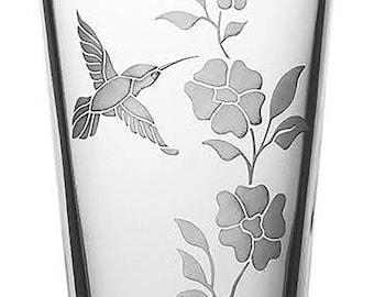 Hummingbird 16oz Glass, etched (Sandblasted), Original Design
