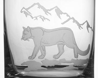 Mountain Lion, 12oz Rocks Glass, etched (Sandblasted), Original Design