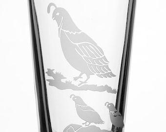 Quail, 16oz Glass, etched (Sandblasted), Original Design