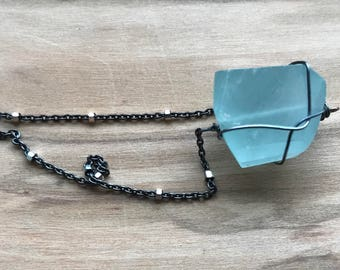 Blue Chalcedony and oxidized Sterling silver necklace