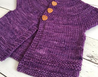 Hand knit baby girl sweater, purple, short-sleeve cardigan, 3-6 months, size 3 months, 3m, 6m