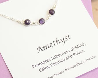 Sterling Silver Three Amethyst Bezel Necklace... February Birthstone... Inspirational Sentiment