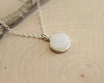 Sterling Silver Minimalist Aurora Borealis Druzy Pendant Necklace