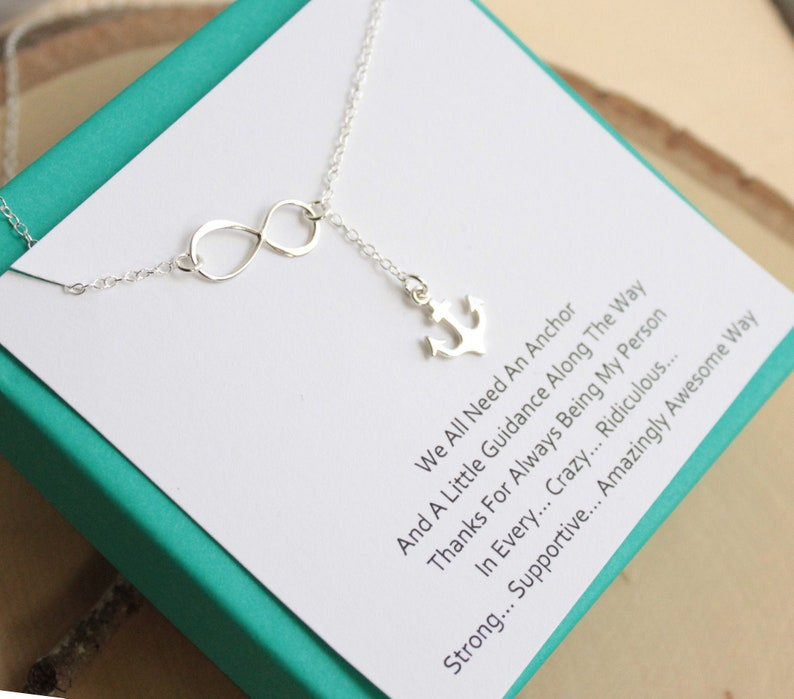 Sterling Silver Infinity and Anchor Necklace with Friendship image 0