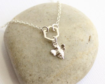 Sterling Silver Tiny Bee and Honeycomb Necklace