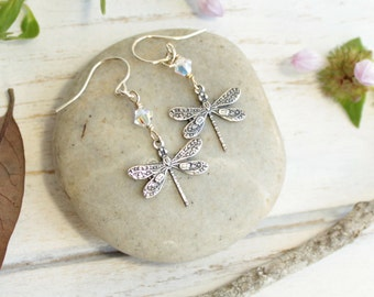 Silver Dragonfly Earrings... with Your Choice of Birthstone on Sterling Silver Hooks