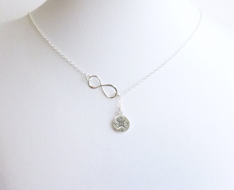 Sterling Silver Infinity and Compass Lariat Necklace