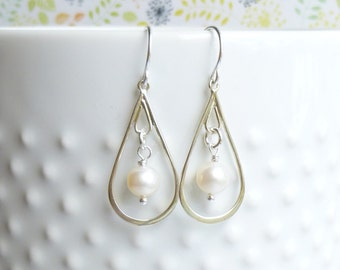 Sterling Silver Pearl Drop Earrings --Bridesmaids Gift -- Mother of the Bride