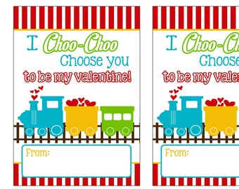 """Train Valentines day cards 3.5x5"""" each digital you print your own- INSTANT DOWNLOAD"""