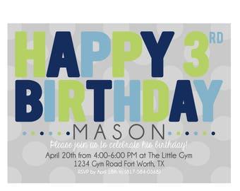 Happy Birthday Invitation 4x6 or 5x7 digital you print your own- Design 221