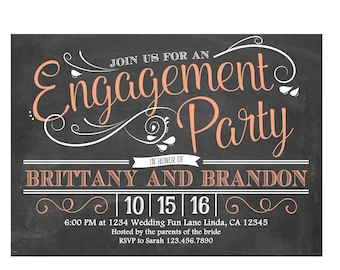 Engagement Party Invitation 4x6 or 5x7 digital you print your own- Design 235
