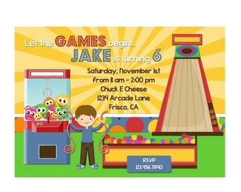 Arcade Games Invitation 4x6 or 5x7 digital you print your own- Design 147
