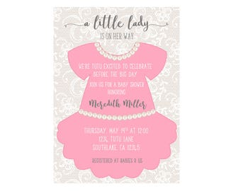 Tutu and Pearls Invitation 4x6 or 5x7 digital you print your own- Design 229