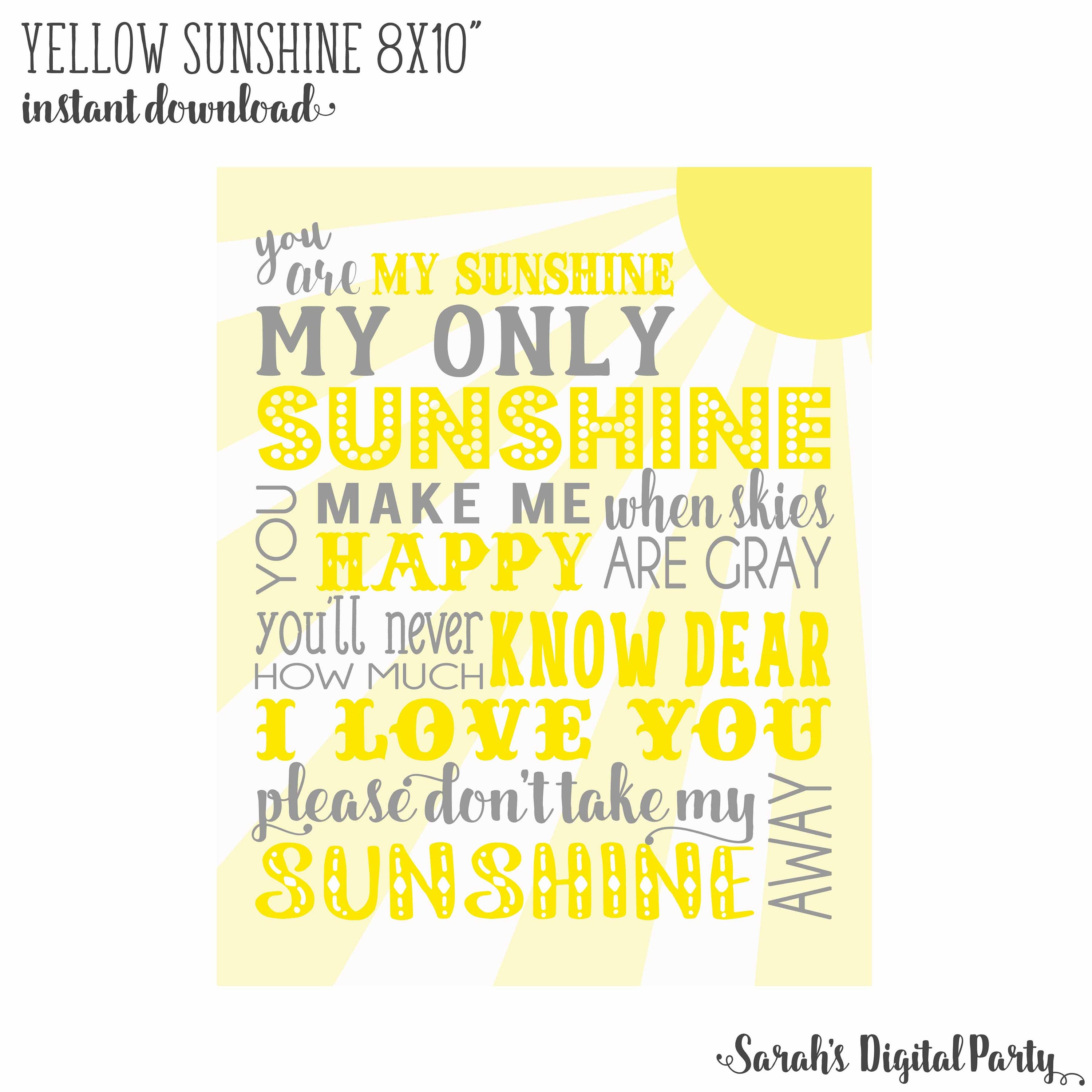 8x10 Yellow and Gray You are my sunshine Nursery Wall Art | Etsy