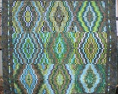 Large Square Contemporary Quilt in Green, Brown, and Blue Batiks