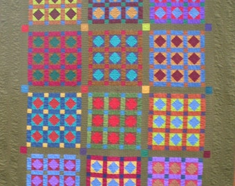 fc02237fb5250a Large Lap Quilt in Jewel Toned Solid Fabrics
