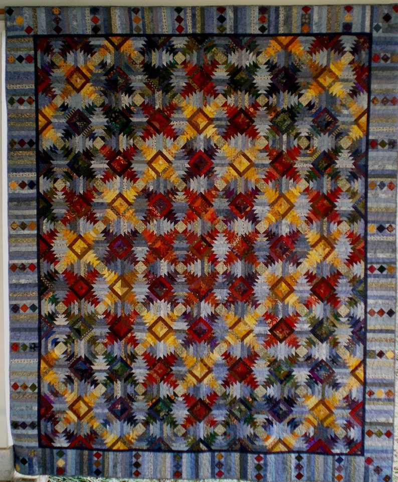 Large Queen Size Traditional Quilt Made With the Pineapple image 0