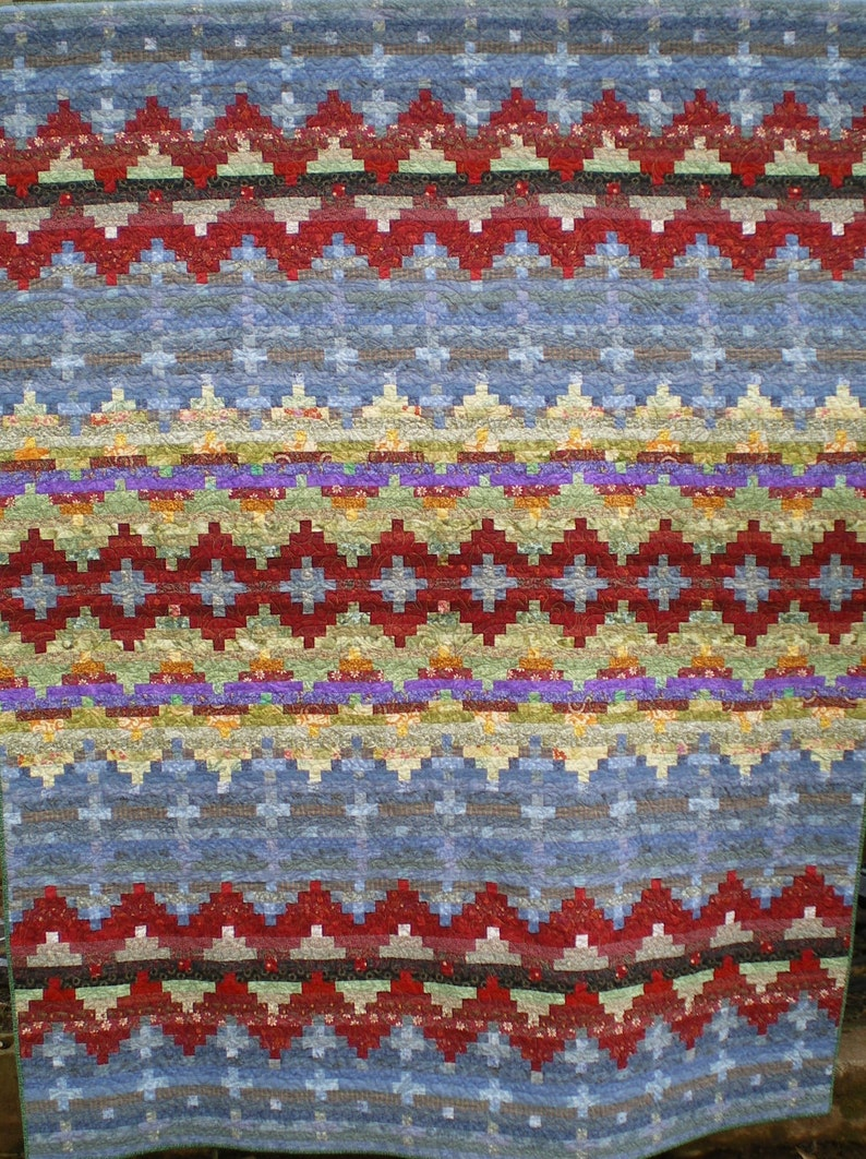 Full Size Indian Blanket Inspired Quilt in Reds Blues and image 0