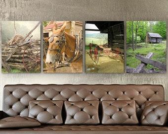 Farmhouse Decor, Farm Photography Set, Set of 4 Canvas, Log Cabin, Plow mule, wagon, hay stack, Rustic Home Decor, Rustic Wall Art Decor