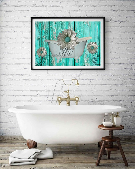 Farmhouse Bathroom Print Or Canvas Rustic Teal Bathroom Wall Etsy