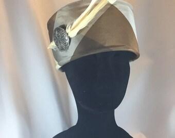BIG Michelle, Hat, Pillbox Hat, Feather pillbox, Plaid Pillbox, Church Hat, Winter pillbox, Formal Hat