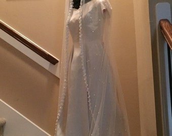 "BIG The ""Margot"", Veil, Bridal Veil,  Pearl Veil, Pearl and Lace Veil, Lace Veil, Pearl Tulle, Lace and Pearls, Wedding Veil, White Veil"