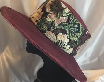 BIG The Margaret Hat, Hat, Red hat, Dark Red Hat, Big Red Hat, Brocade Hat,  Winter Hat, Burgundy Hat, Velvet Hat