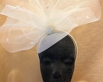 BIG The Courtney Hat, Bridal, Fascinator, Ivory, Headband, Crinoline Fascinator