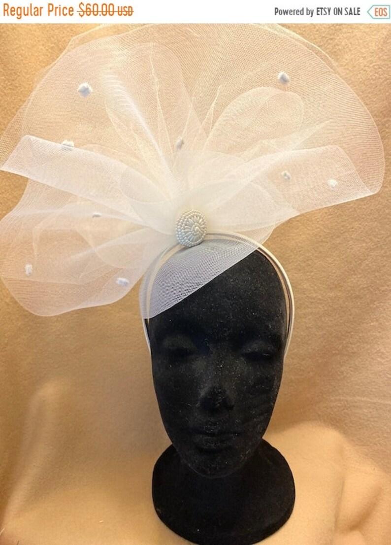 BIG The Courtney Hat Bridal Fascinator Ivory Headband image 1