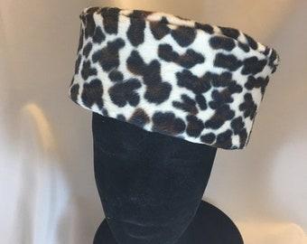 BIG The Maura Hat, Hat, Pillbox, Faux Fur Pillbox, Velvet Bow, Leopard Pillbox, Winter Pillbox