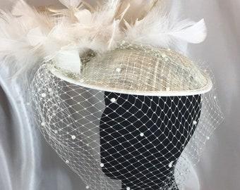 BIG Chelsea, Bridal Hat, Feather Hat, Ivory Hat, Pearl Veil, Ivory Tilt Hat, Tilt Hat,  Wedding Hat, Headband Hat
